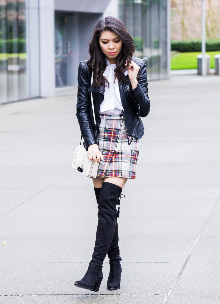 Topshop plaid mini skirt, over the knee boots, faux leather jacket, school girl inspired outfit, petite fashion blog