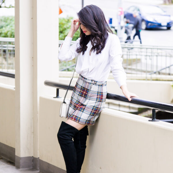 Topshop plaid mini skirt, over the knee boots, school girl inspired outfit, petite fashion blog