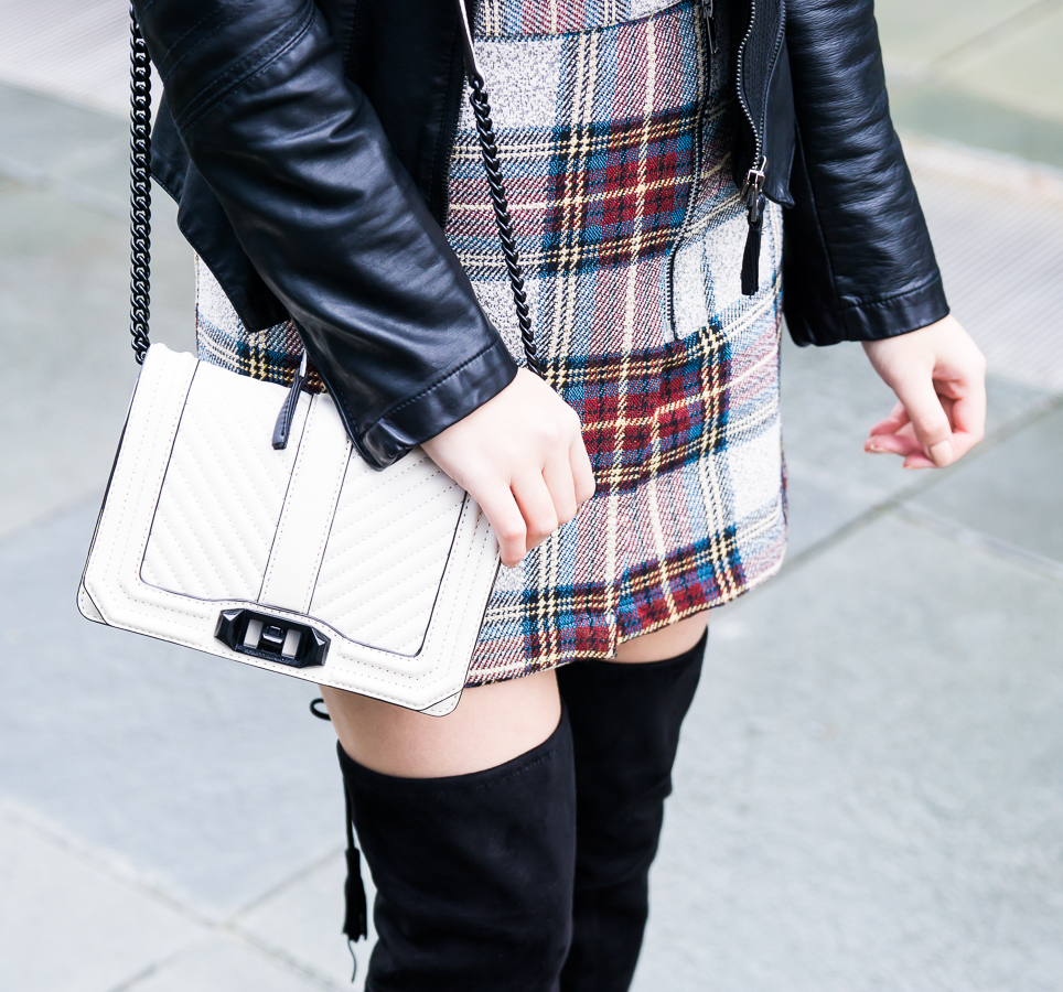 Topshop plaid mini skirt, Rebecca Minkoff small crossbody, petite fashion blog