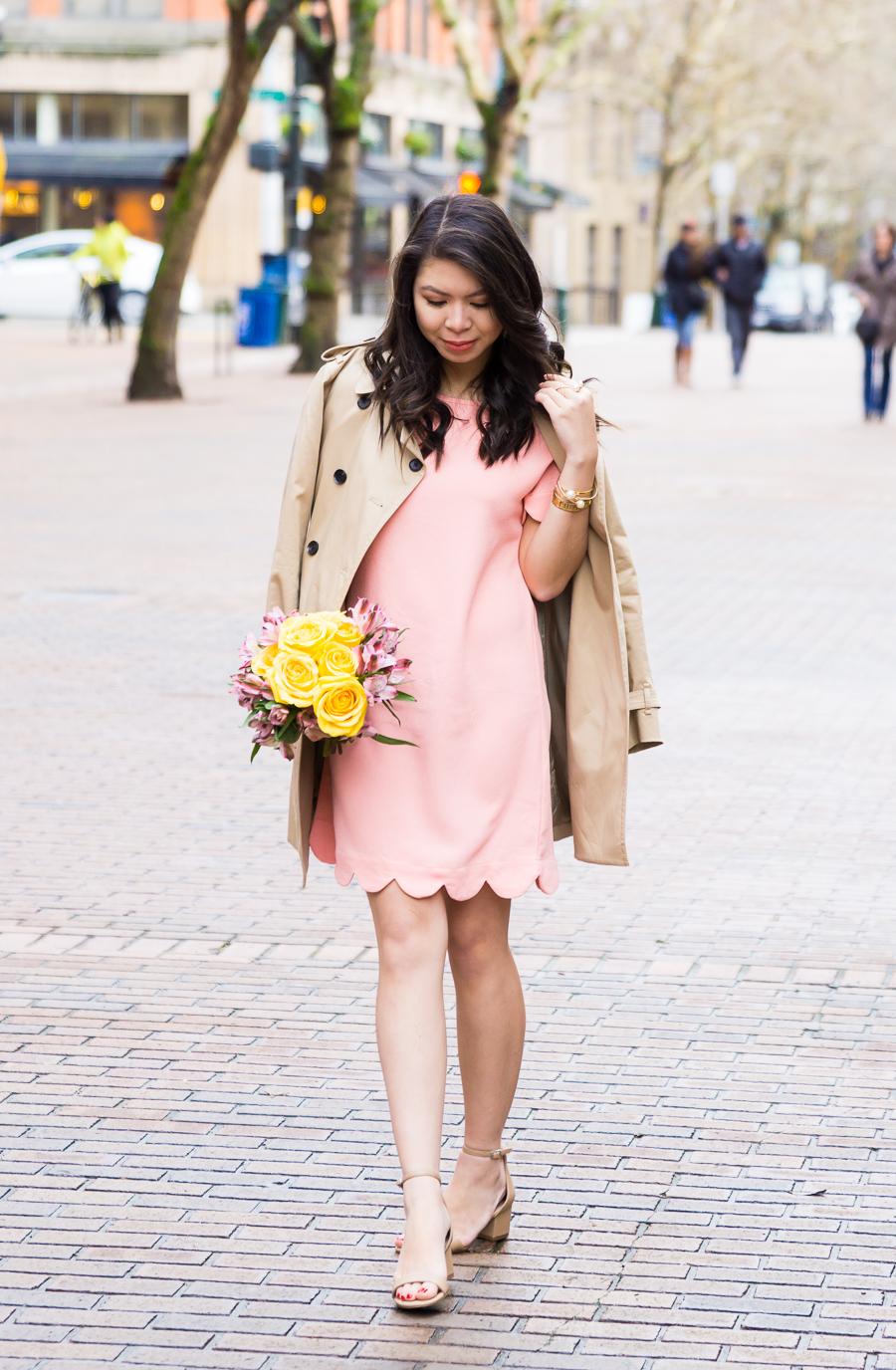 Cutest scallop edge clothes, scallop edge dress, trench coat, spring style, petite fashion blog