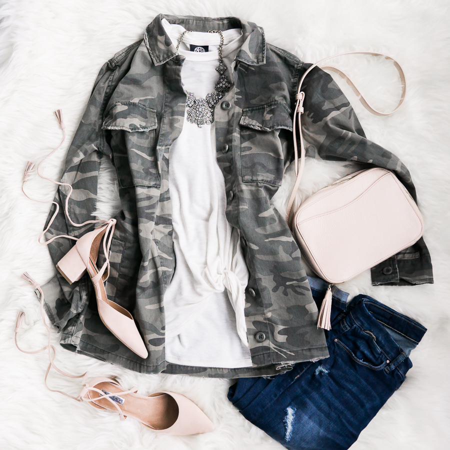 Camo jacket outfit, spring fashion, petite fashion blog, outfit flatlay