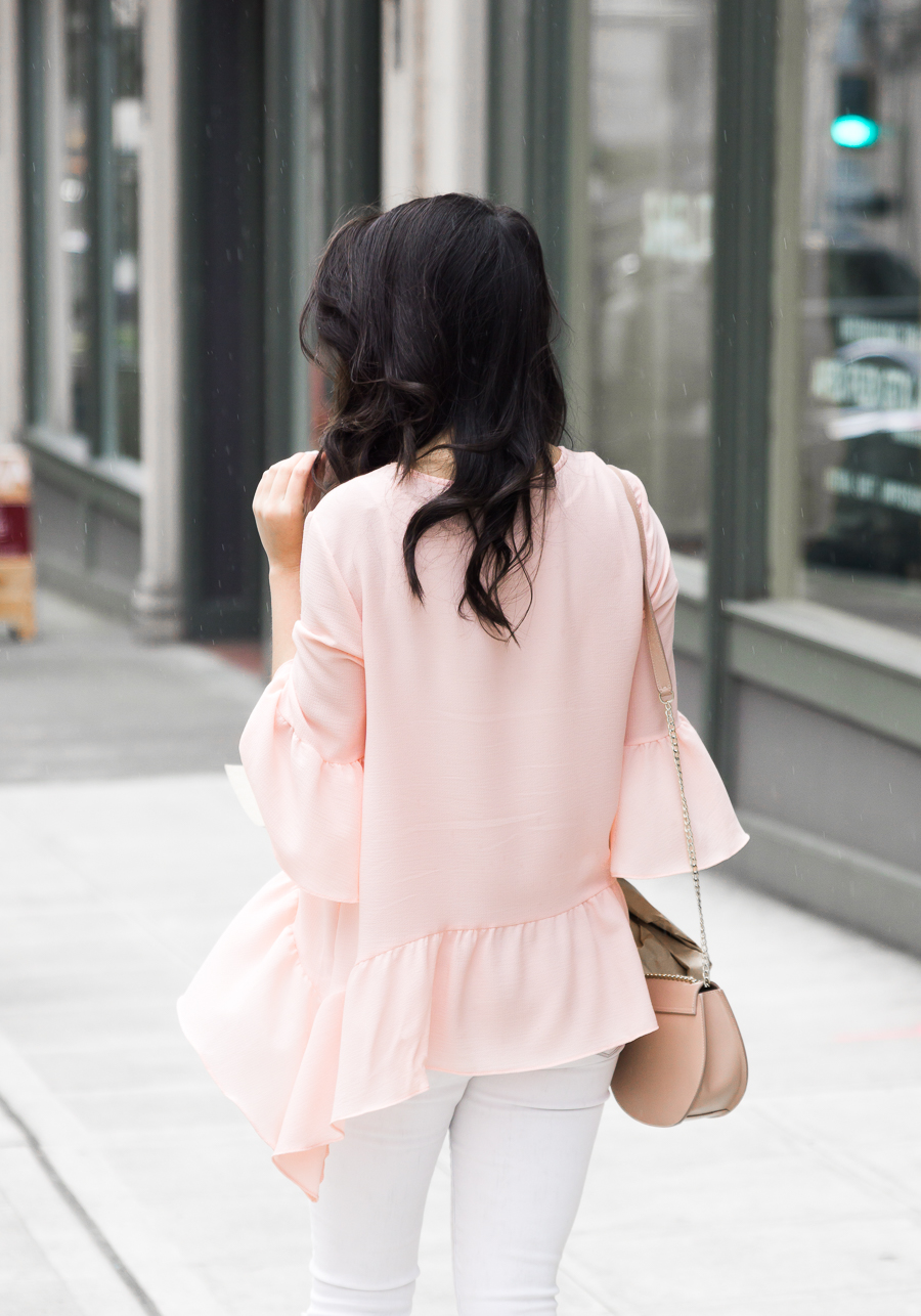 Gibson handkerchief ruffle hem top, spring style, petite fashion blog