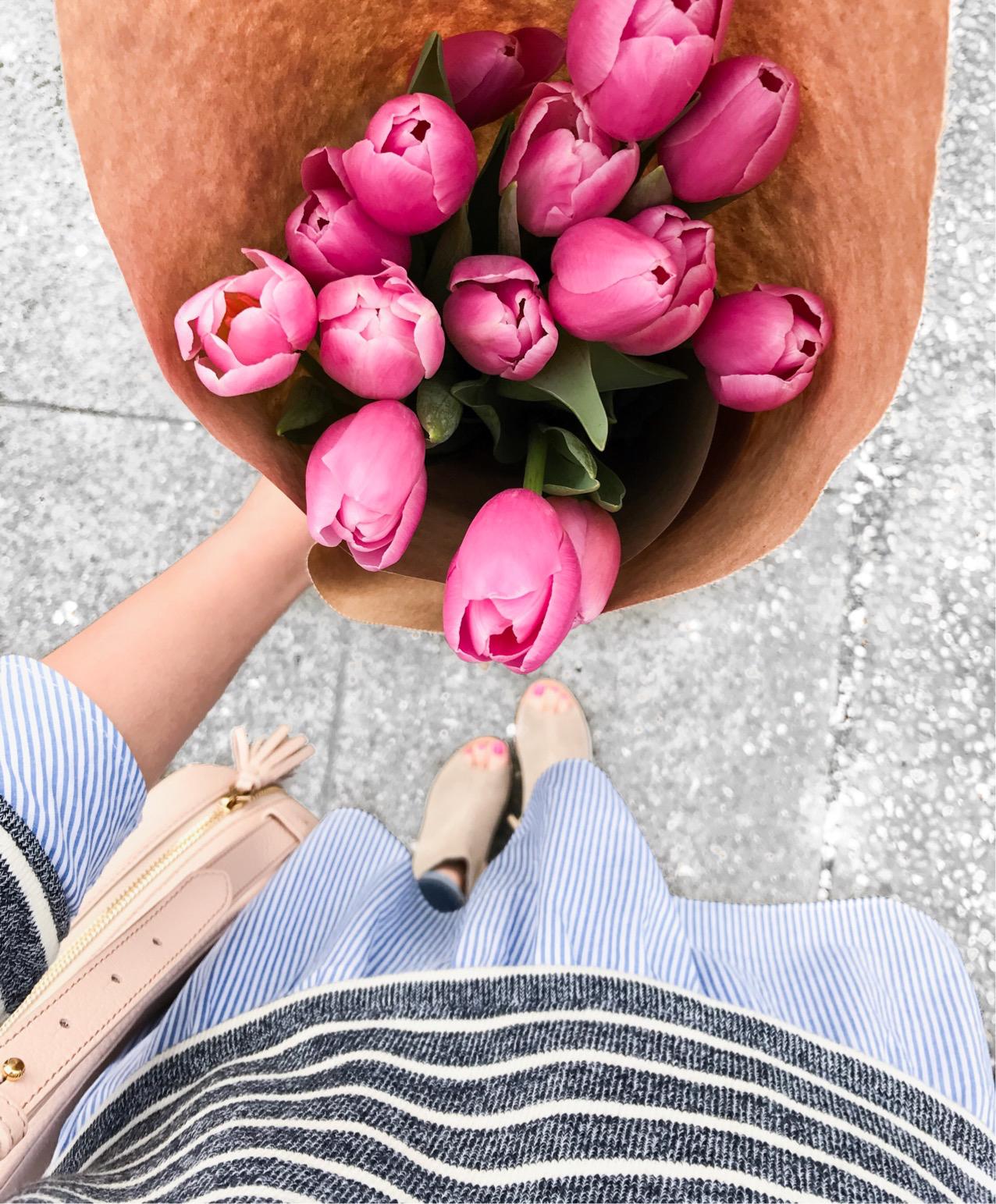 Pink tulips, striped sweater, petite fashion blog