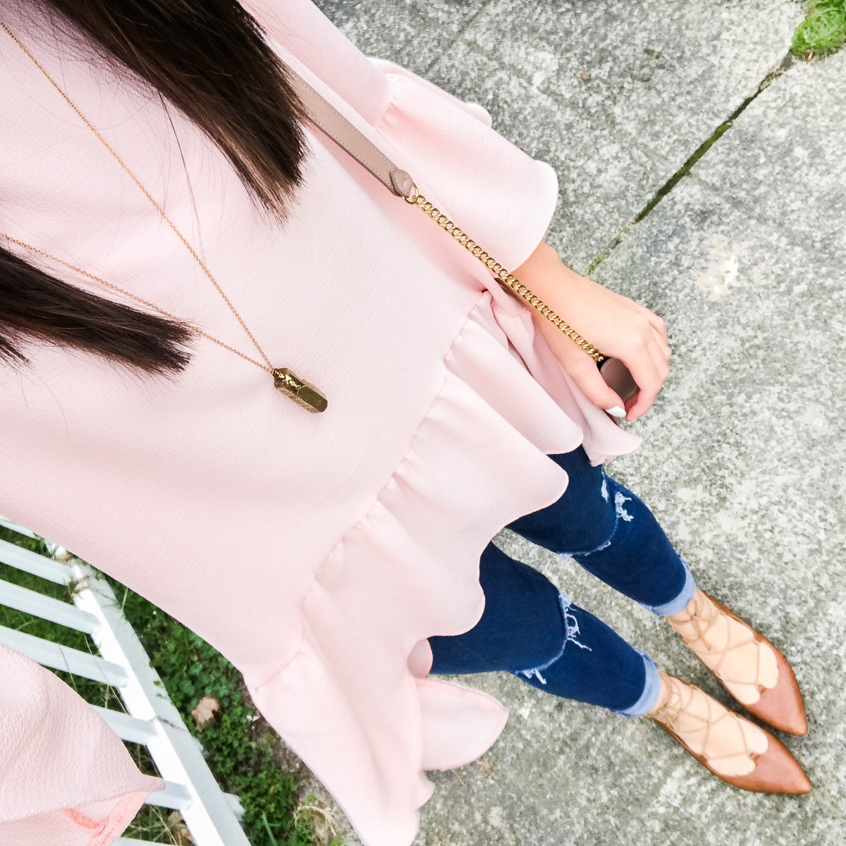 Ruffle hem top, outfit of the day, casual cute outfit, spring style, petite fashion blog