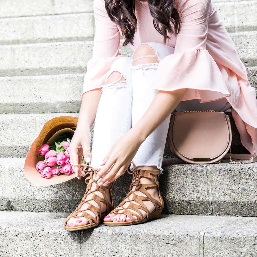 Skinny white jeans, Crown Vintage gladiator sandals, spring style, petite fashion blog