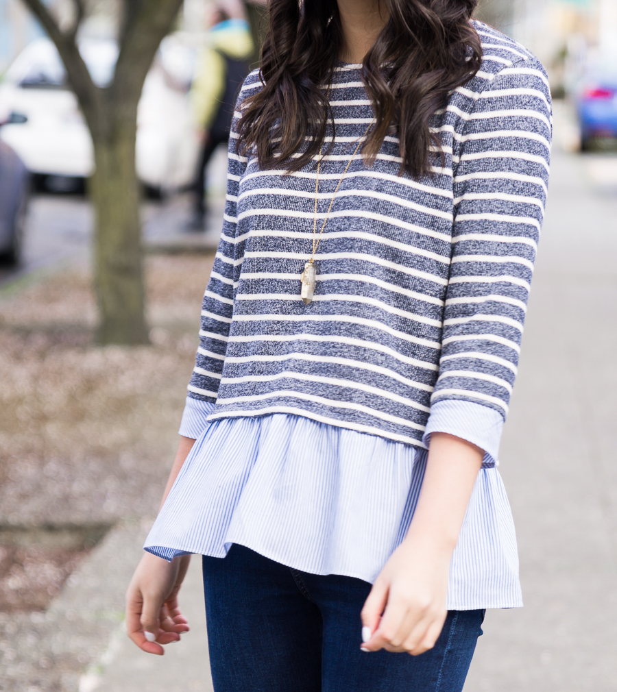 THML contrast ruffle striped sweater, spring style, cute casual outfit, petite fashion blog