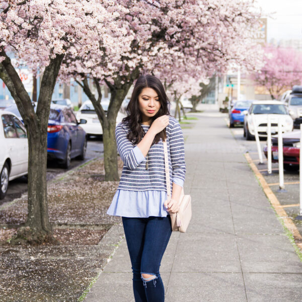 THML contrast ruffle striped sweater, TOMS peep toed booties, spring style, cute casual outfit, petite fashion blogTHML contrast ruffle striped sweater, TOMS peep toed booties, spring style, cute casual outfit, petite fashion blog