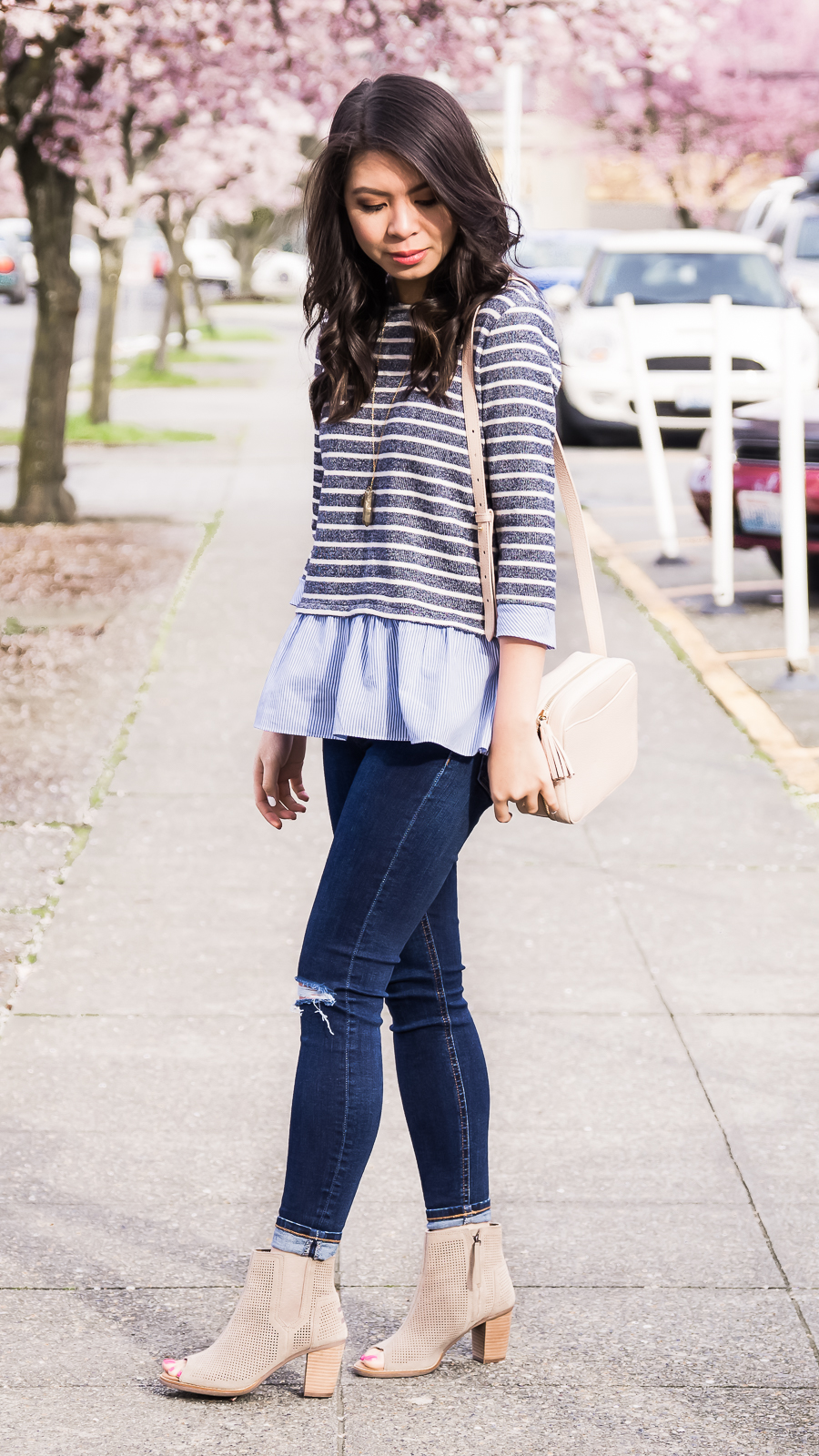 THML contrast ruffle striped sweater, TOMS peep toed booties, spring style, cute casual outfit, petite fashion blog