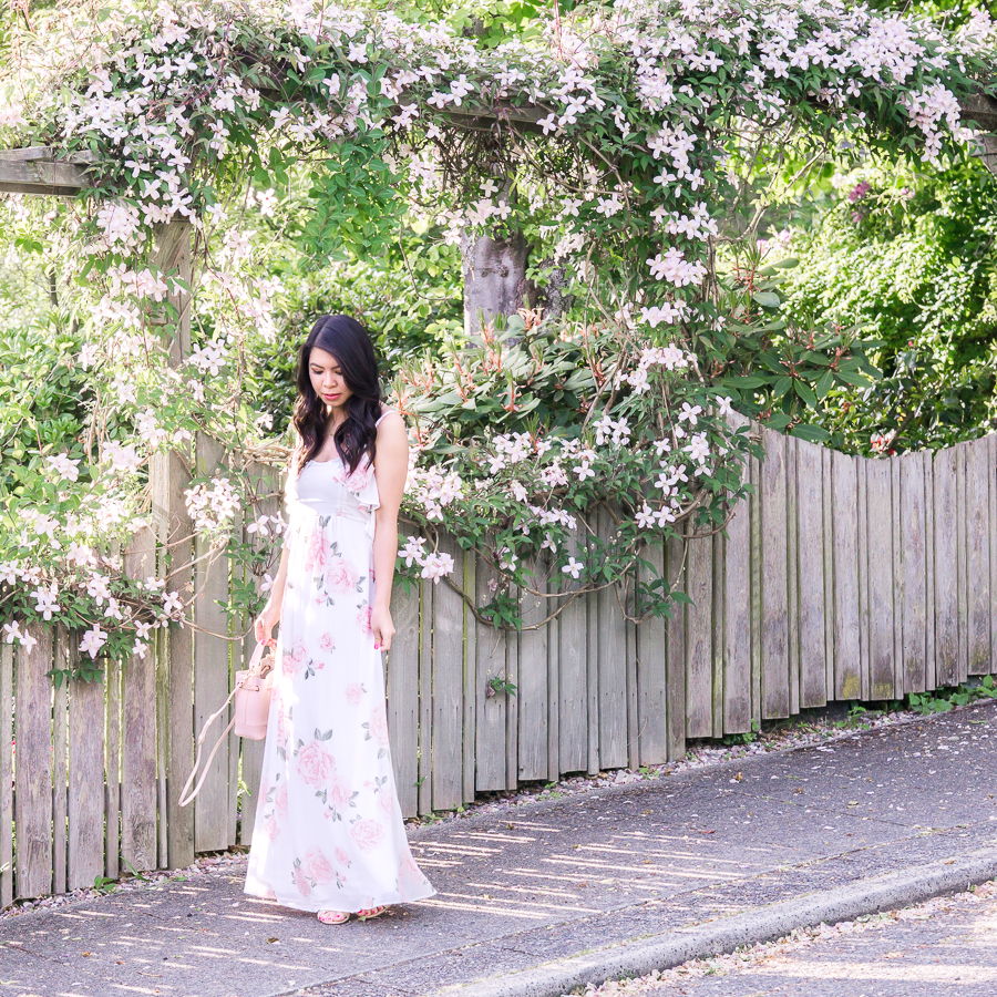Floral maxi dress, maxi dresses under $100, summer outfit, petite fashion blog, Seattle fashion blogger