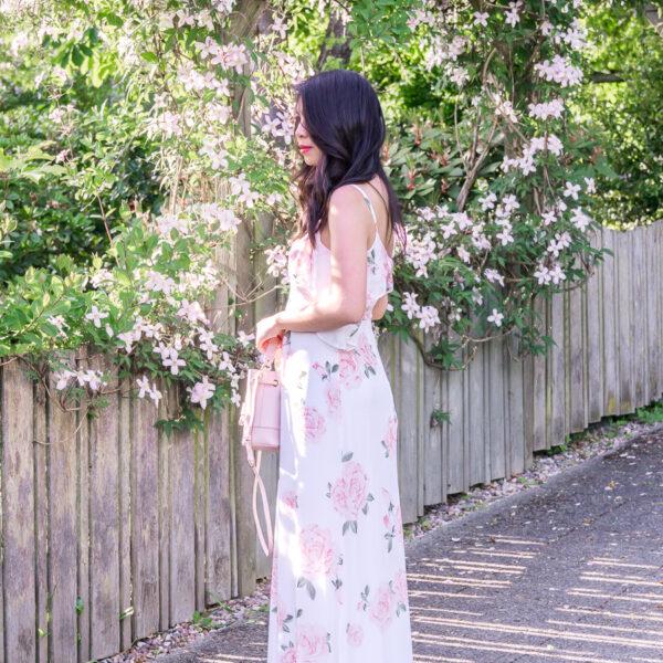 Floral maxi dress, maxi dresses under $100, summer outfit, petite fashion blog, Seattle fashion blogger