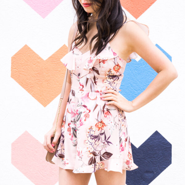 Floral romper, summer outfit, Dallas heart wall, petite fashion blog