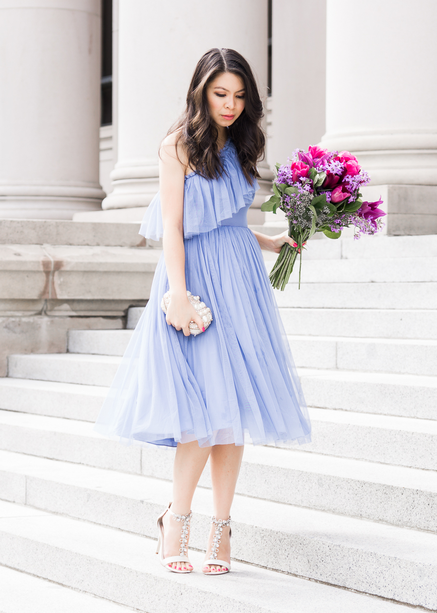 Asos occasion wear, one shoulder dress, tulle dress, special occasion outfit, petite fashion blog