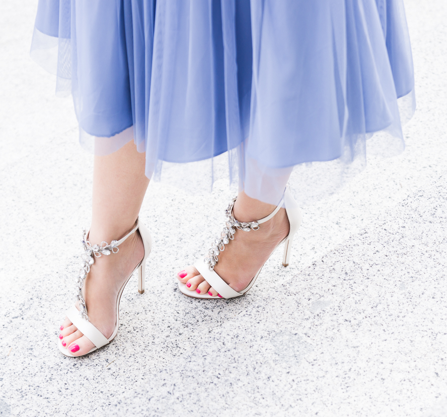 ASOS ocassionwear, tulle dress, special occasion outfit, embellished sandals, petite fashion blog