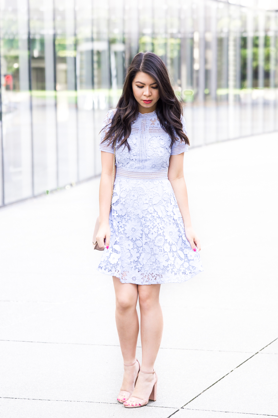 Chicwish floral land crochet dress, lace dress, nude sandals, summer outfit, petite blog, Seattle fashion blogger
