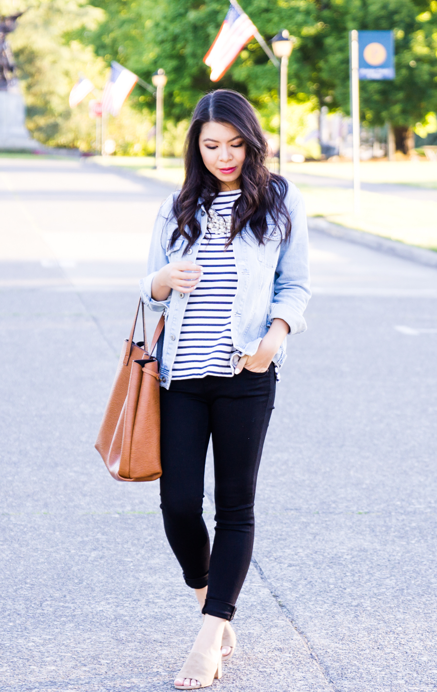 Black skinny jeans and denim jacket, casual every day outfit, AG Jeans, petite fashion blog, Seattle fashion blogger