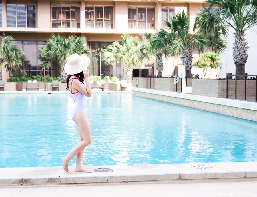 Fairmont Dallas pool review, JCrew stripe one piece swimsuit, Seattle fashion blog, petite fashion blogger