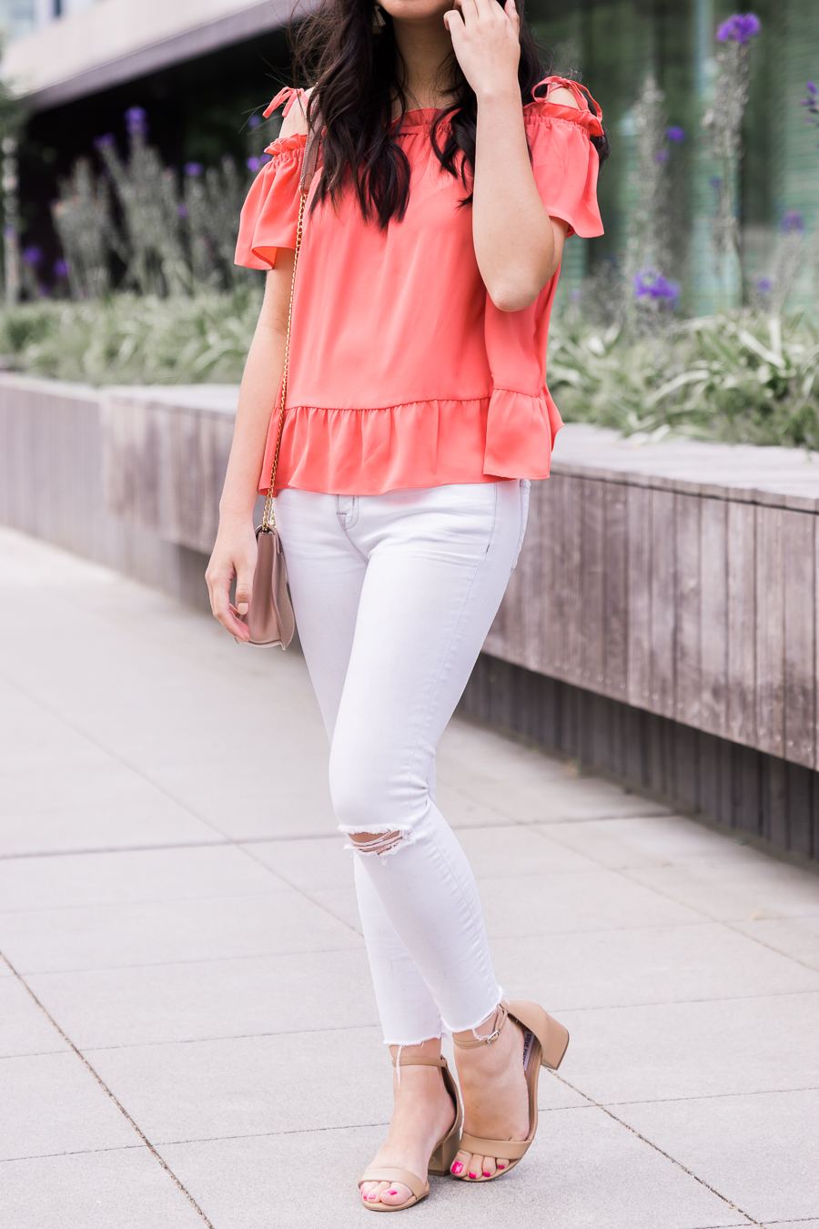 Ruffle off the shoulder top, white jeans, cute summer outfit, petite fashion blog, Seattle fashion blogger