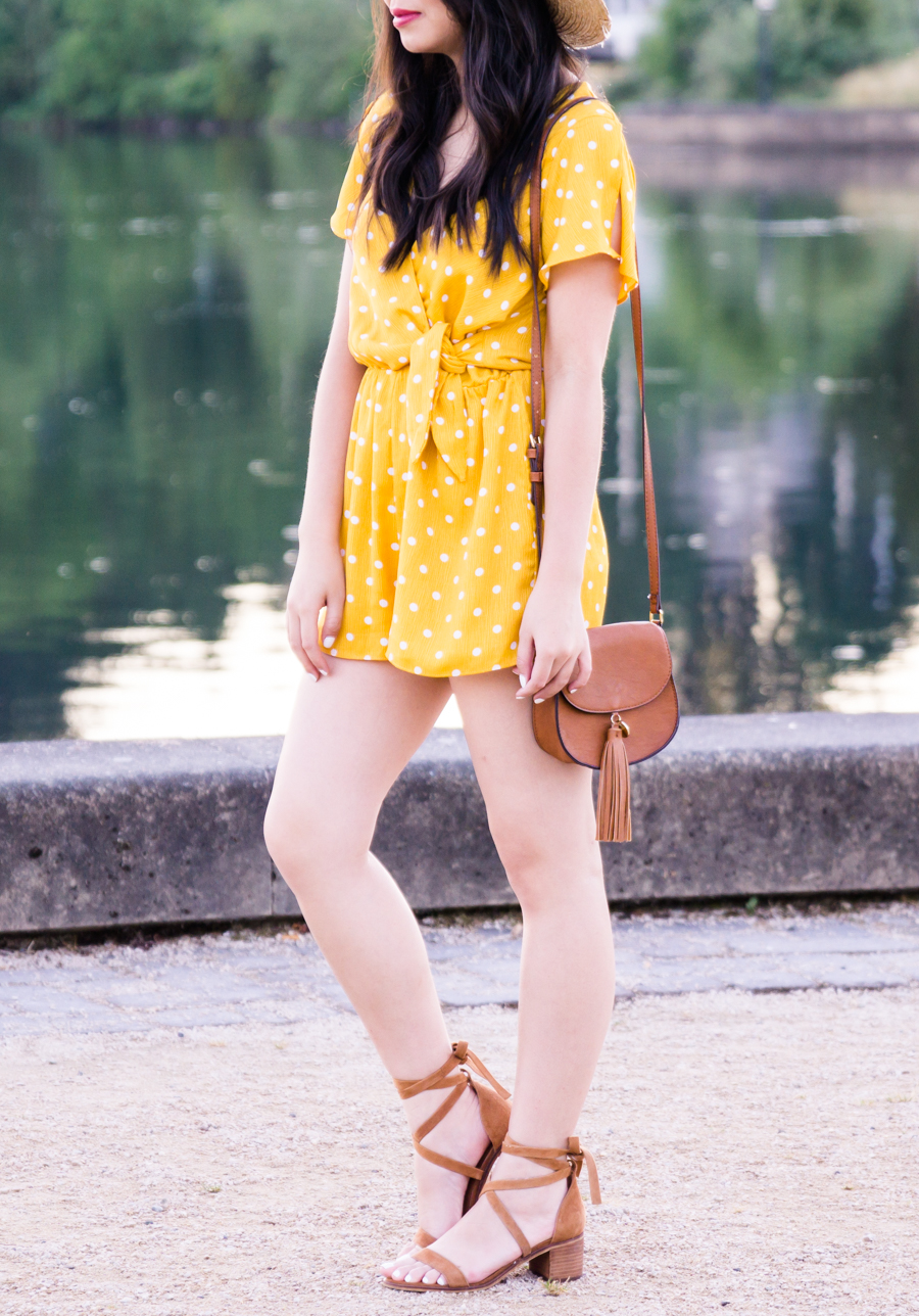 Yellow polka dot romper, cute summer outfit, petite fashion blog, Seattle fashion blogger