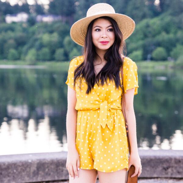Yellow polka dot romper, cute summer outfit, petite fashion blog, Seattle fashion blogger