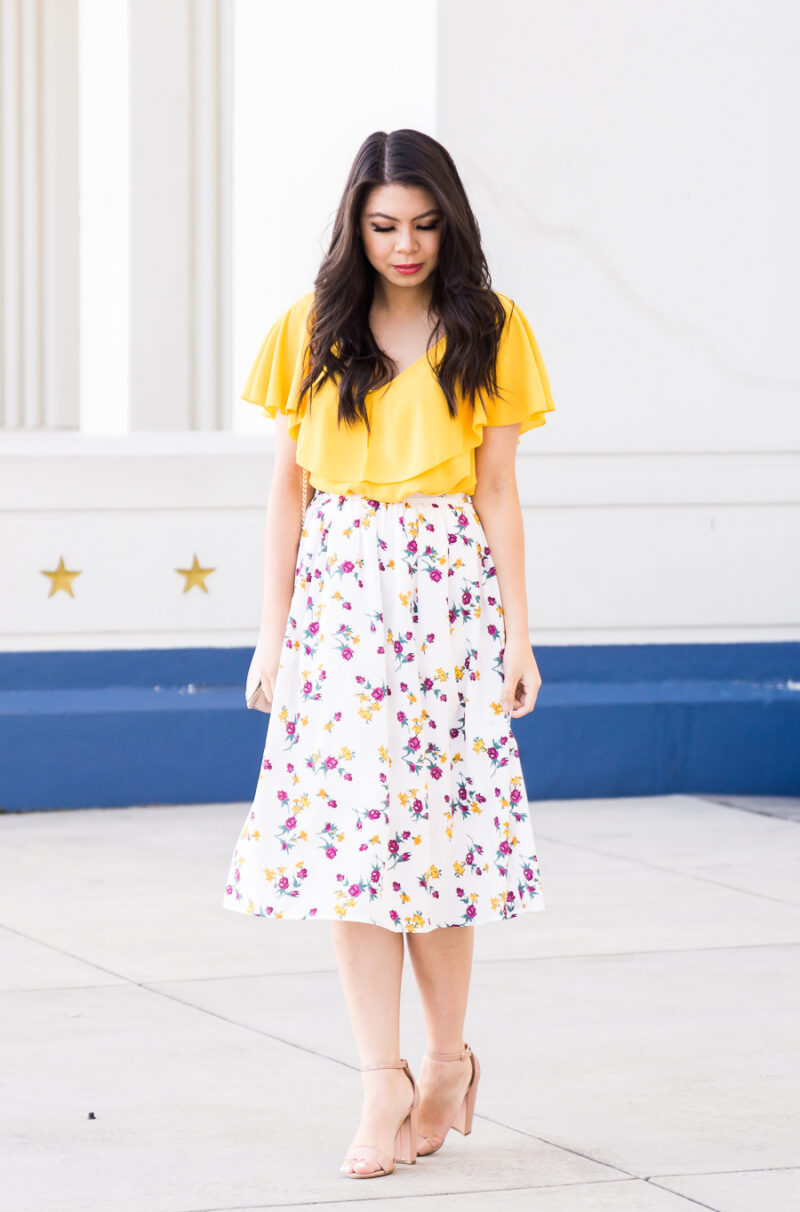 Summery Floral Midi Skirt