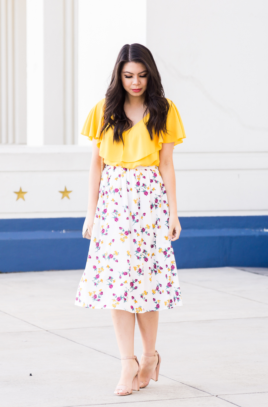 Summery Floral Midi Skirt Just A Tina Bit