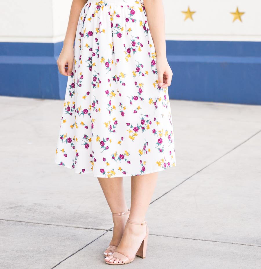 Cute summer outfit, floral midi skirt, MOHAI, Seattle fashion blogger, petite blog