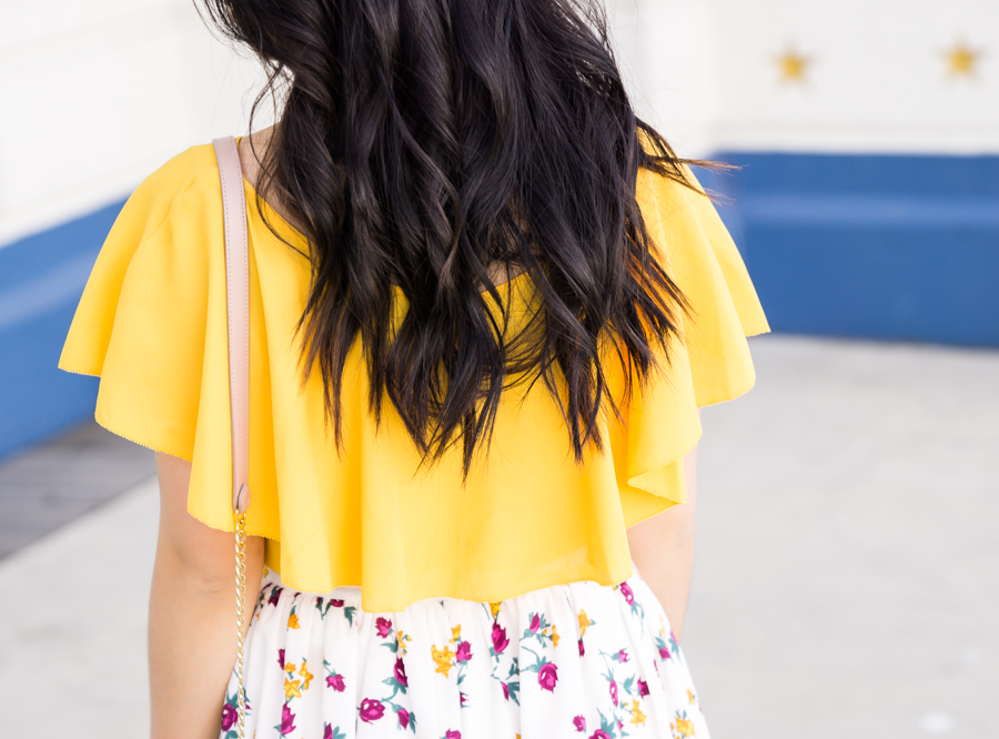 Cute summer outfit, floral midi skirt, yellow ruffle top, MOHAI, Seattle fashion blogger, petite blog