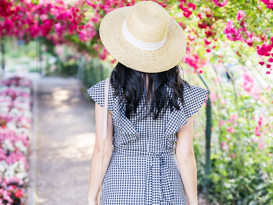 Gingham dress, gingham print, cute summer outfit, Point Defiance Rose Garden, Seattle fashion blogger, petite blog