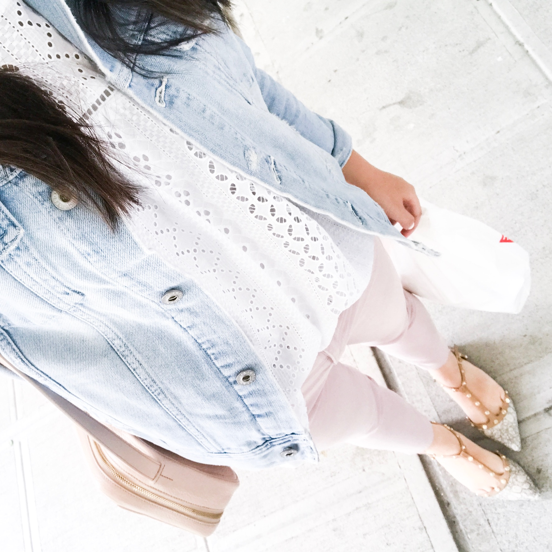 How to wear a denim jacket, eyelet top, blush jeans outfit, Seattle fashion blogger, petite blogger