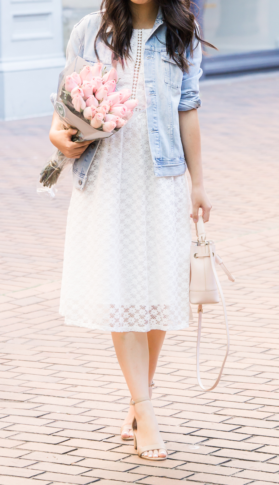 How to wear a denim jacket, white lace dress, midi dress, cute summer outfit, Seattle fashion blogger, petite blogger