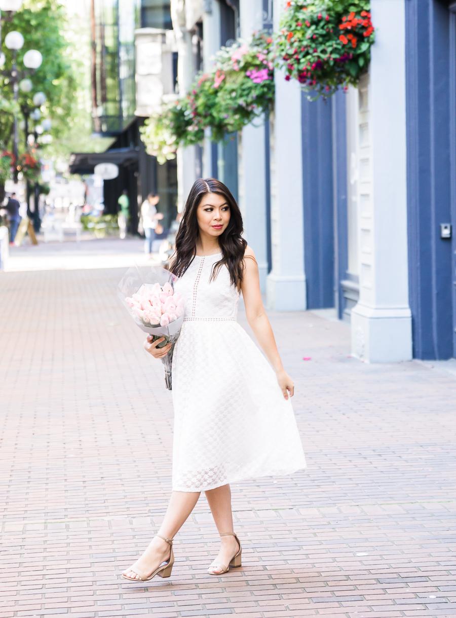 White lace dress, midi dress, cute summer dress, Seattle fashion blogger, petite fashion blogger