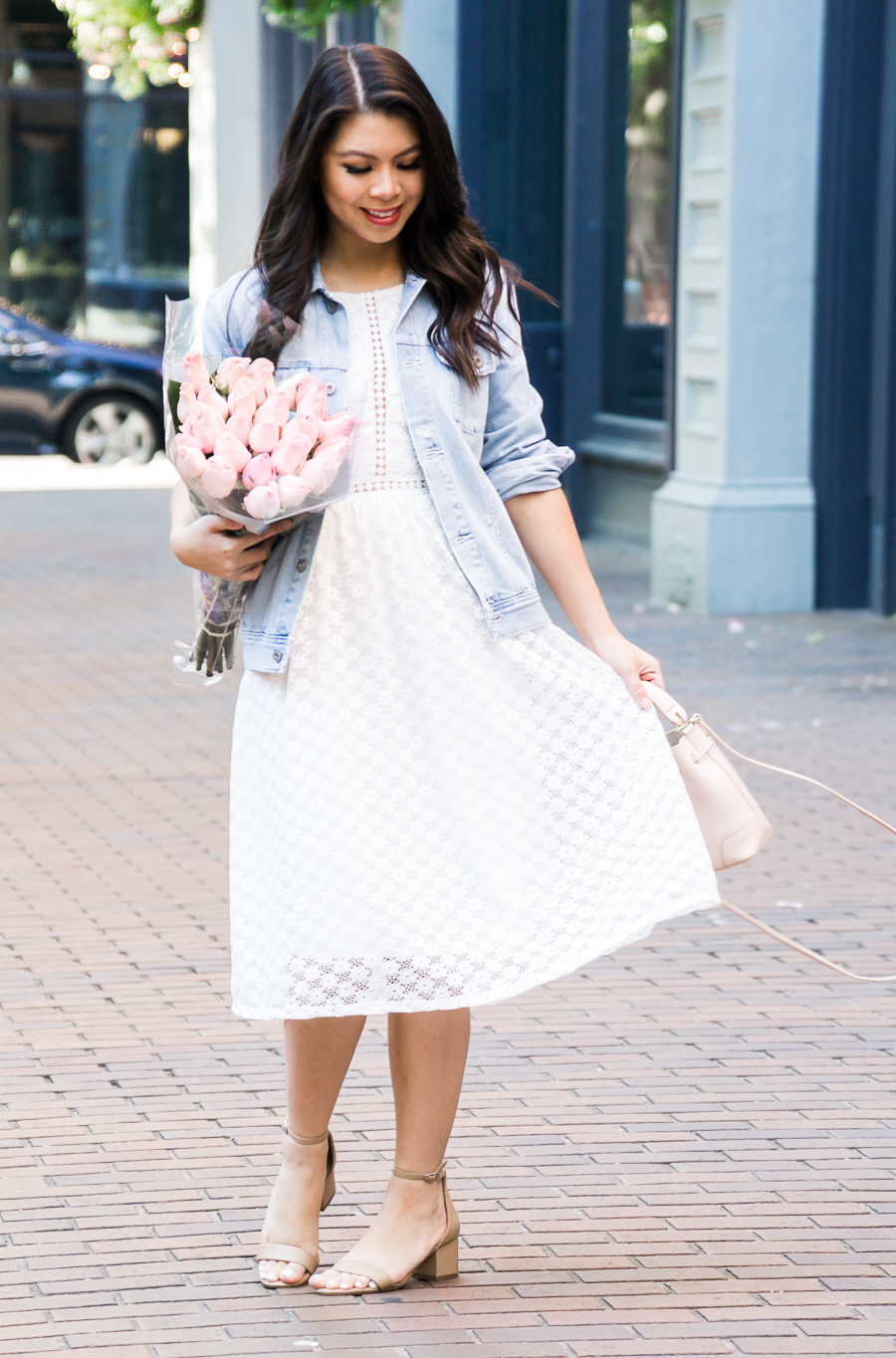 Image result for denim jackets with white lace dress