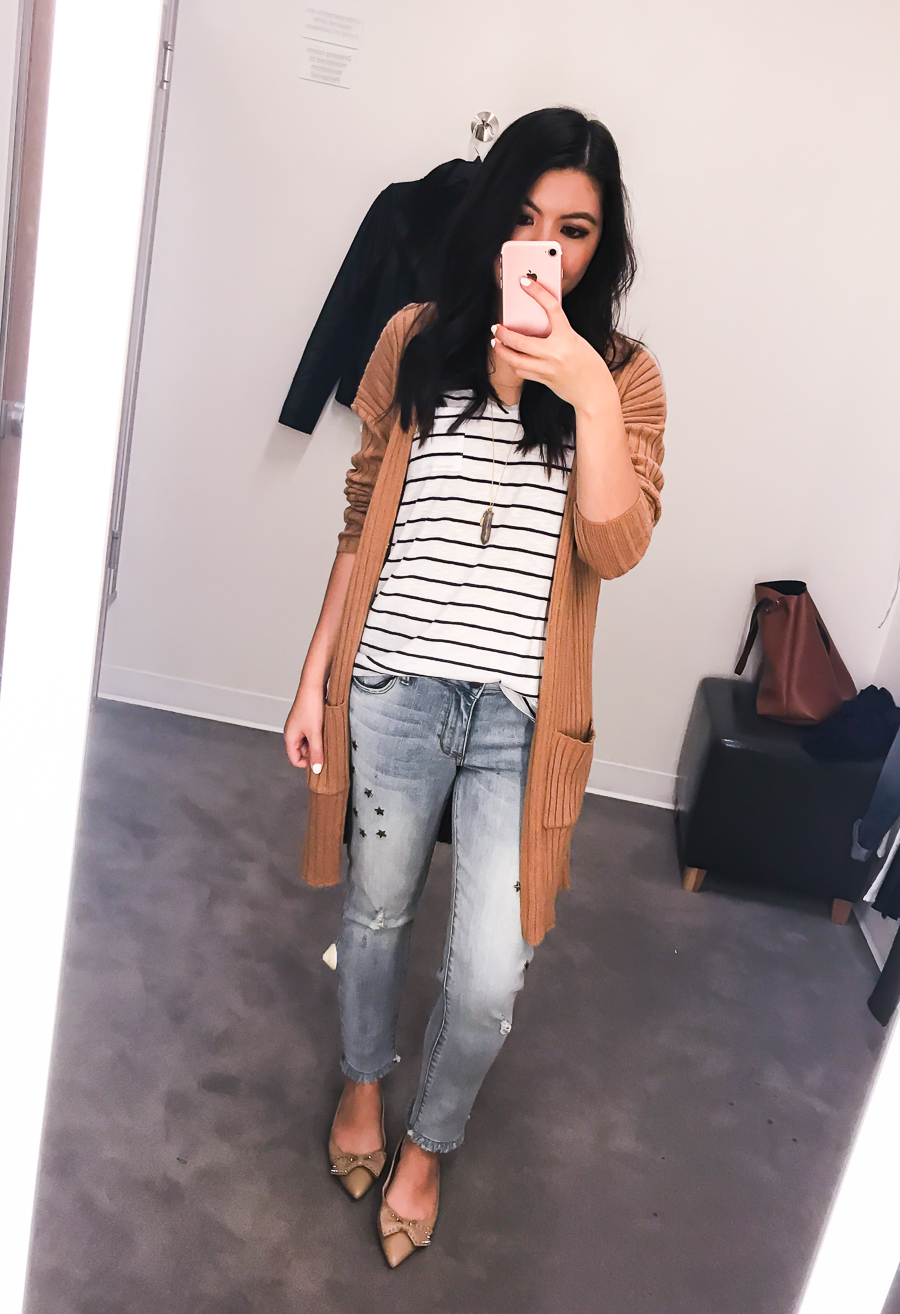 Nordstrom Anniversary Sale 2017 Review, Seattle fashion blogger, petite blog, cute casual outfit, cardigan sweater, striped top, mom jeans