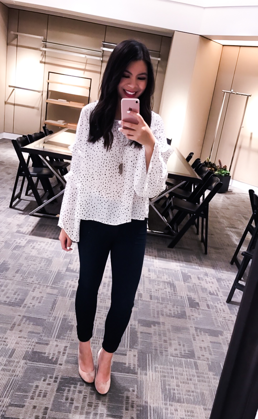 Nordstrom Anniversary Sale 2017 Review, Seattle fashion blogger, petite blog, tiered bell sleeve top, blush pumps