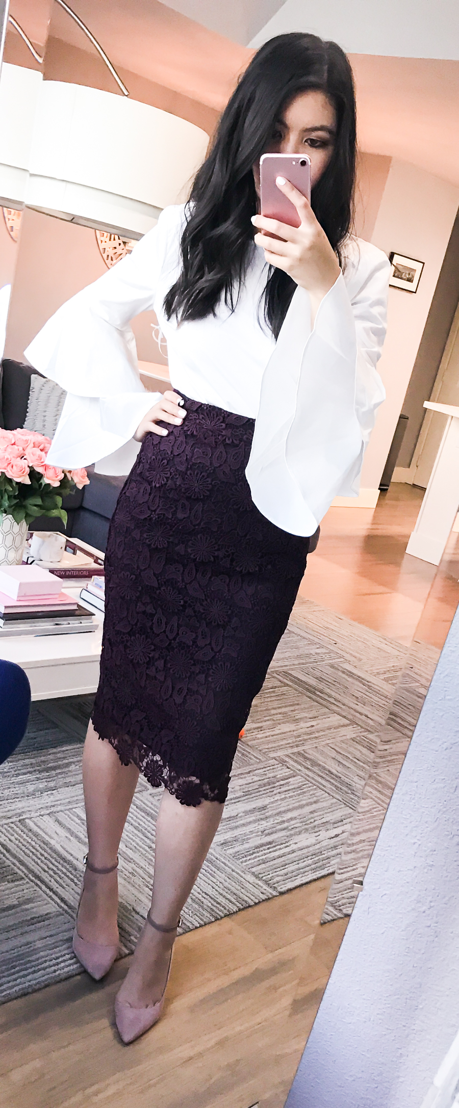 Nordstrom Anniversary Sale 2017 Review, Seattle fashion blogger, petite blog, lace pencil skirt