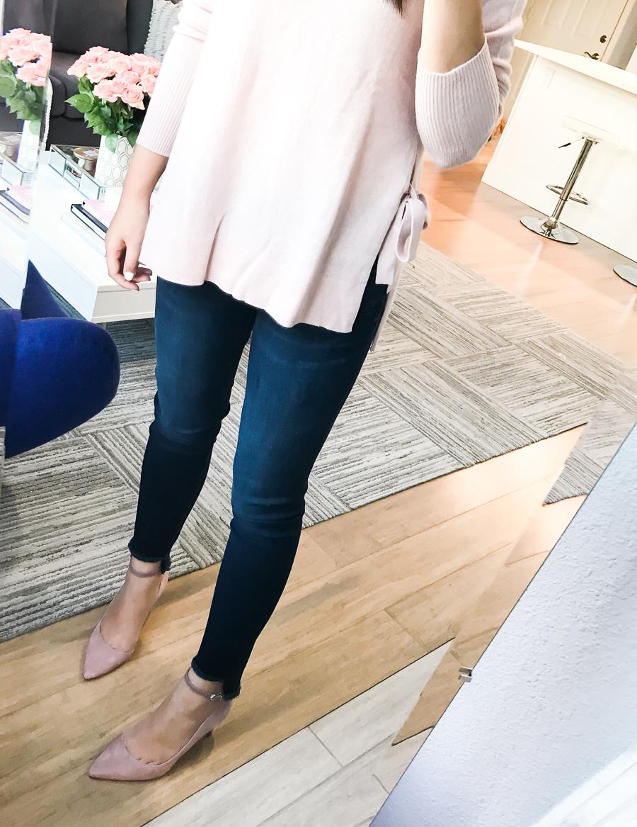 Nordstrom Anniversary Sale 2017 Review, Seattle fashion blogger, petite blog, step hem jeans, Sam Edelman pumps