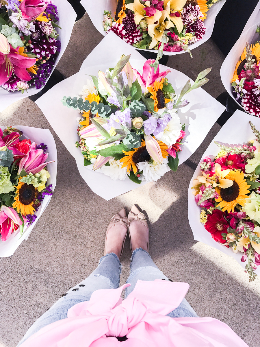 Bow flats, farmers market flowers at Microsoft Commons