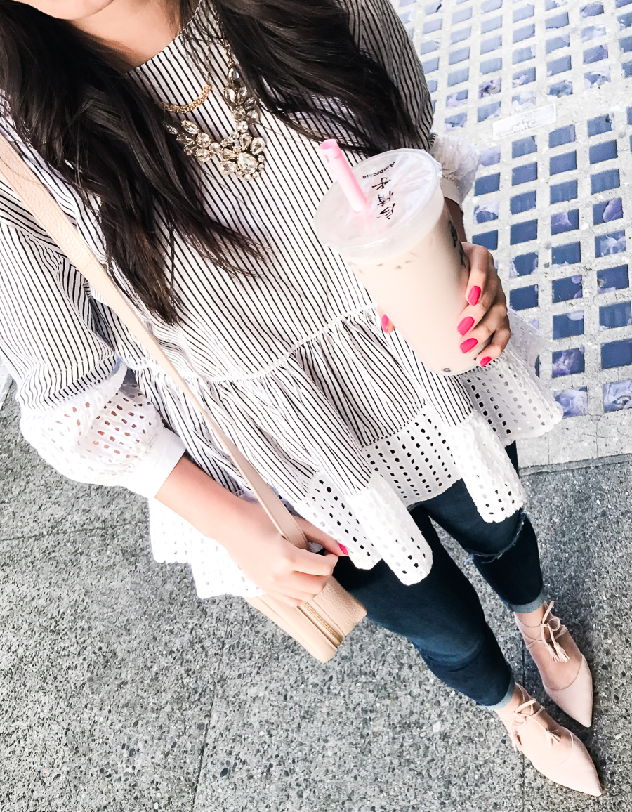 Casual chic outfit, Chicwish peplum top, Seattle fashion blogger