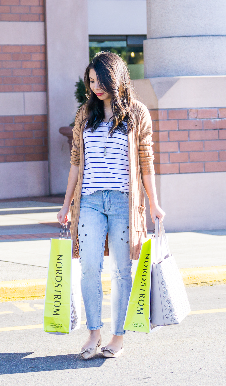Casual cute outfit, BP cardigan, striped tee, Seattle fashion blogger