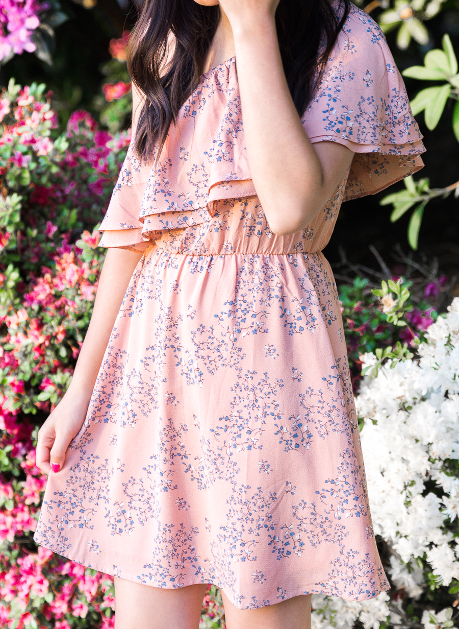 Casual one shoulder dress with floral print, petite fashion blog