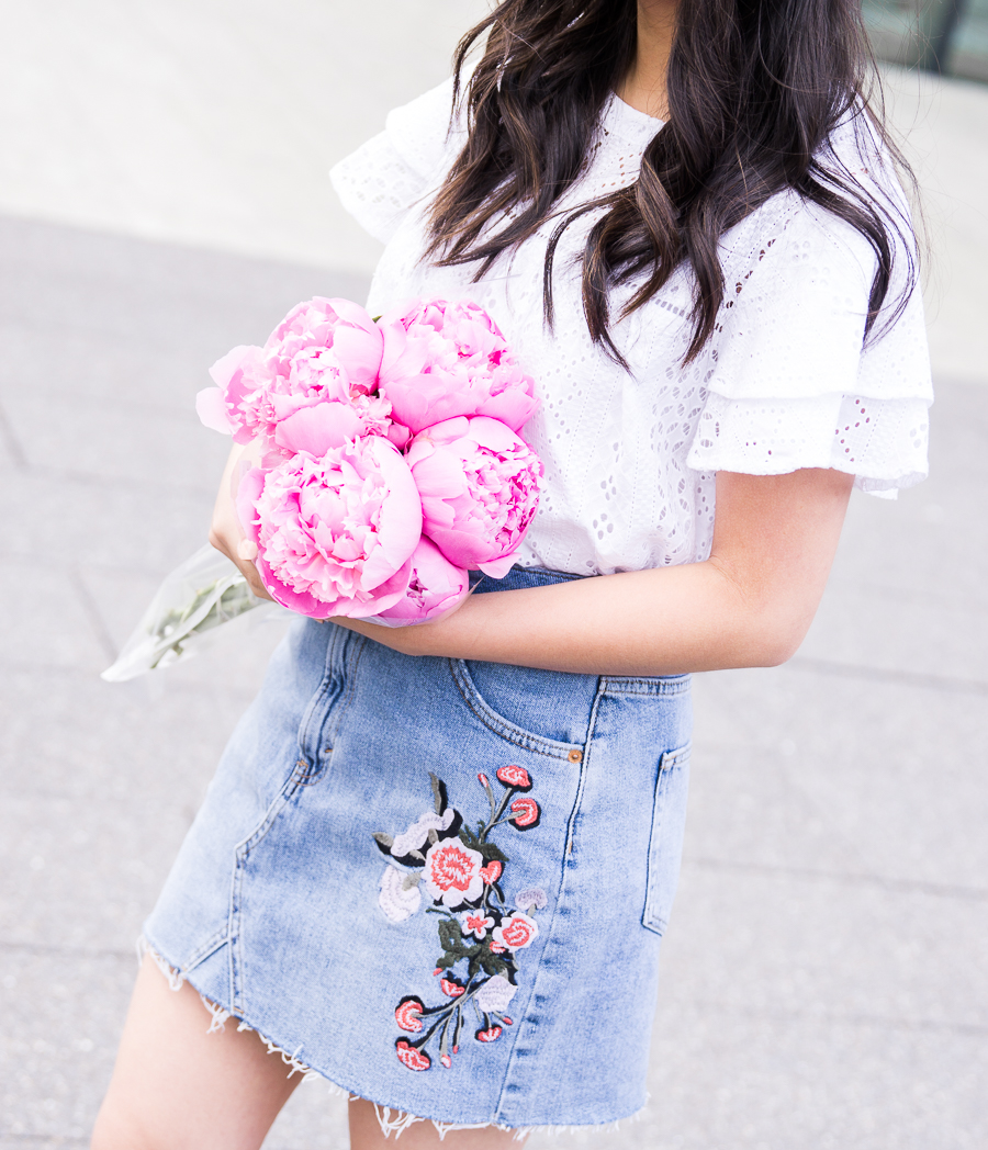 Embroidered denim skirt, eyelet ruffle top, Seattle fashion blogger, cute summer outfit