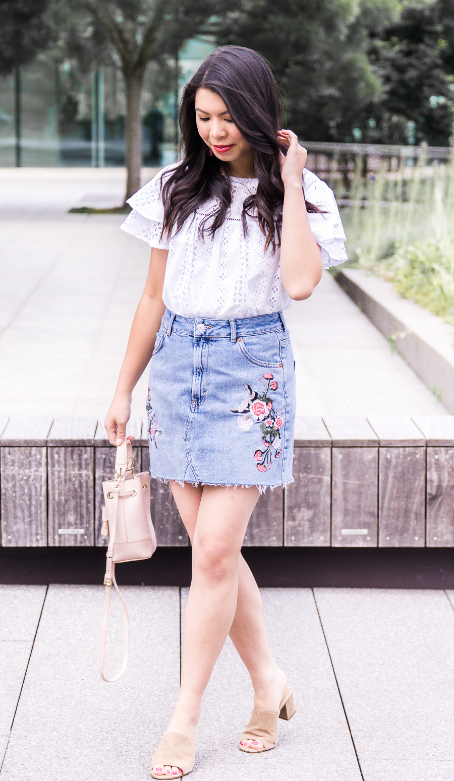 3f2a21ba8a73 Embroidered denim skirt, eyelet ruffle top, Seattle fashion blogger, cute  summer outfit ...