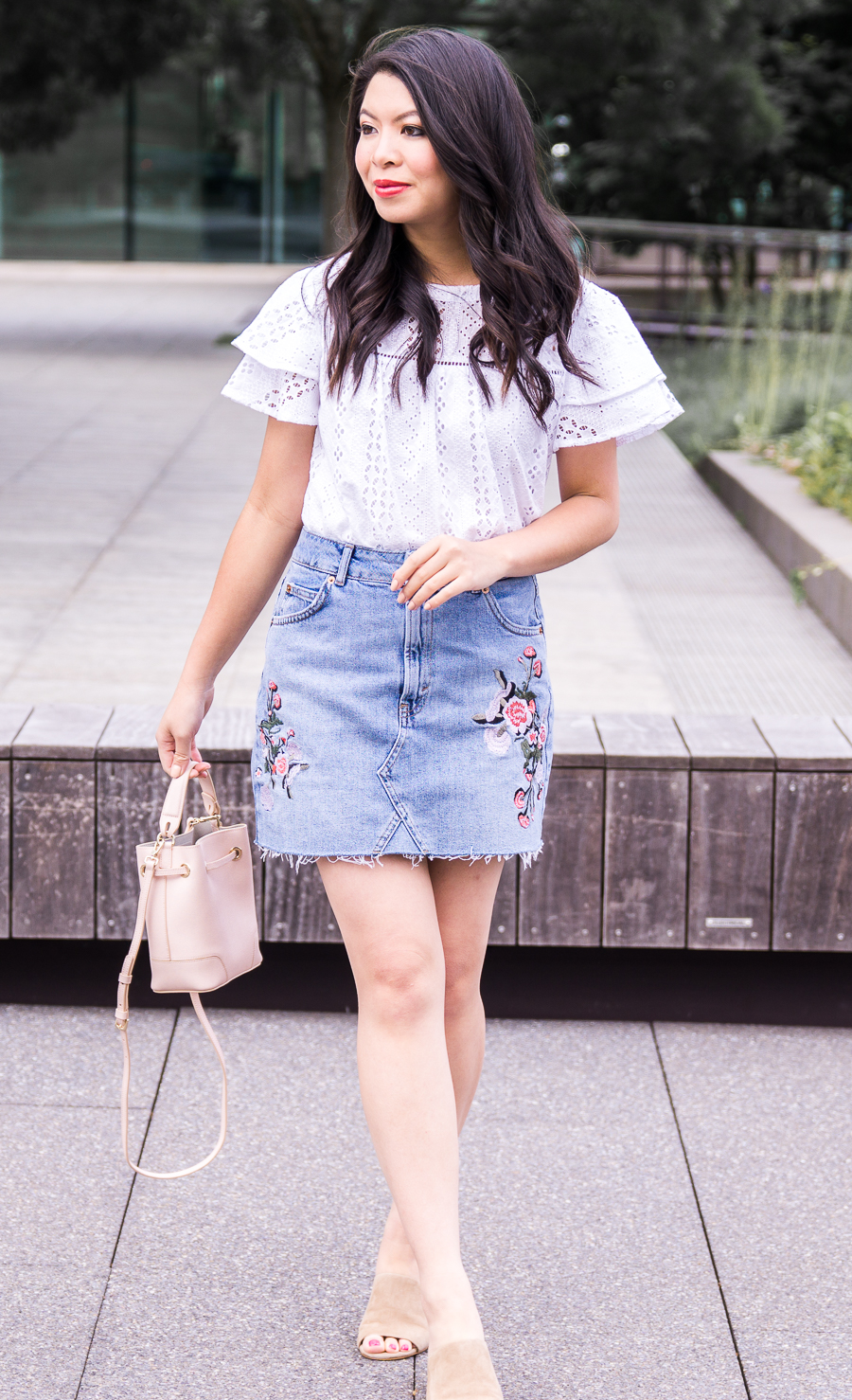 621c31c15042 Embroidered denim skirt, eyelet ruffle top, Seattle fashion blogger, cute  summer outfit