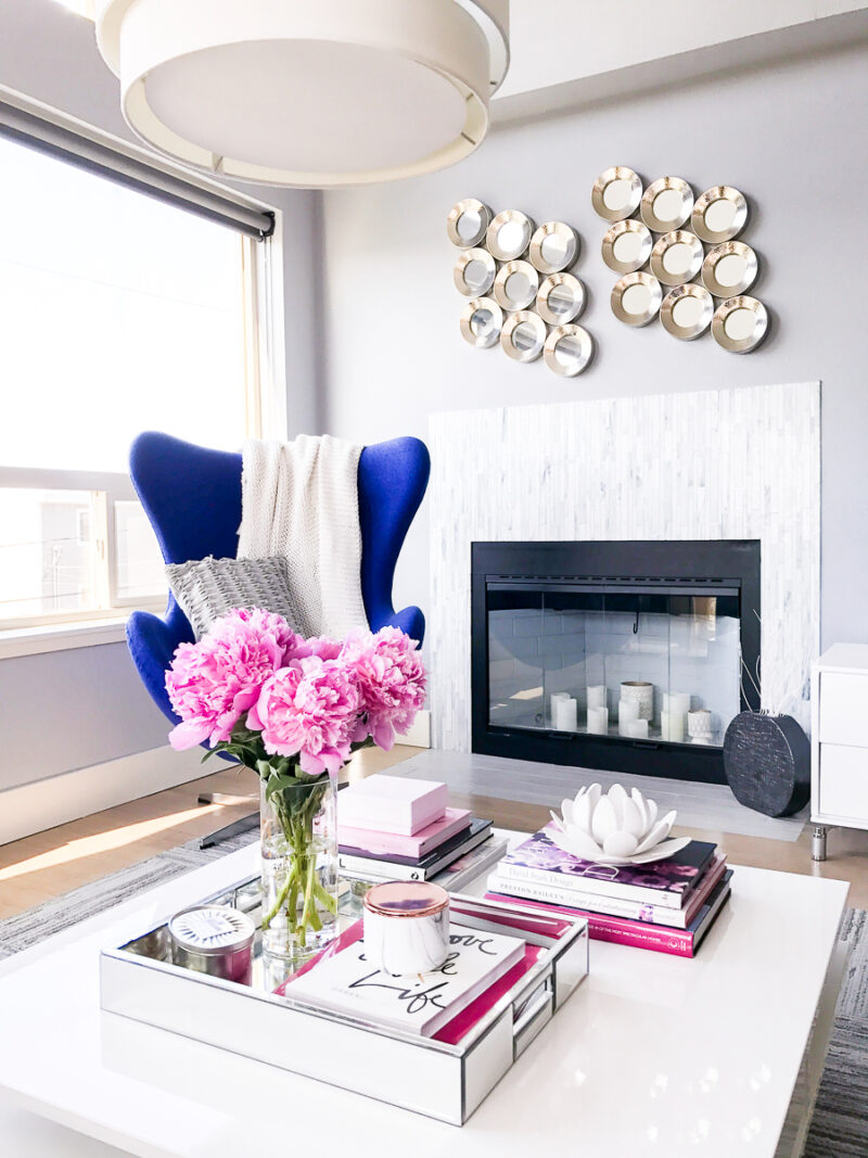 Modern chic living room, blue egg chair, peonies, Seattle fashion ...
