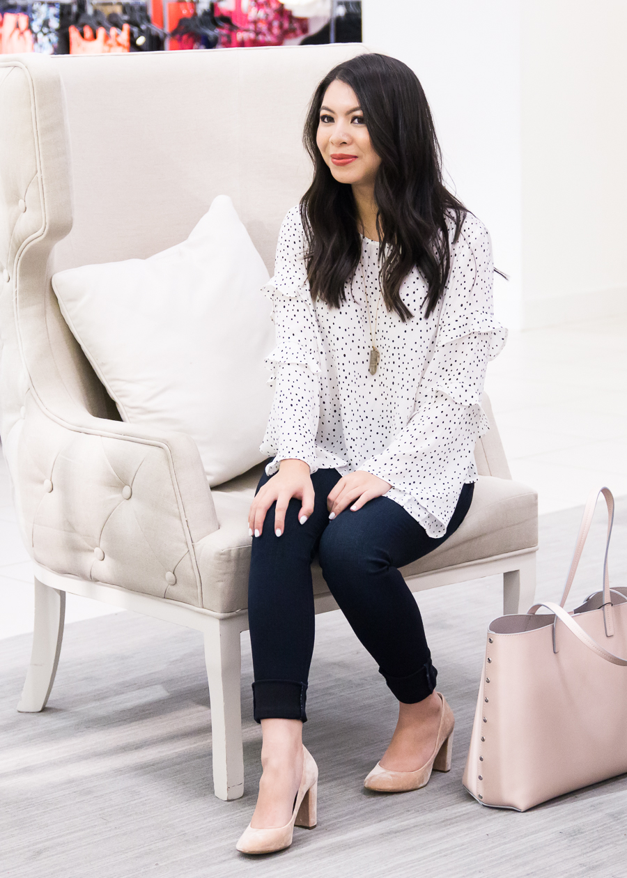 Polka dot top, casual work outfit, blush accessories, Seattle fashion blogger
