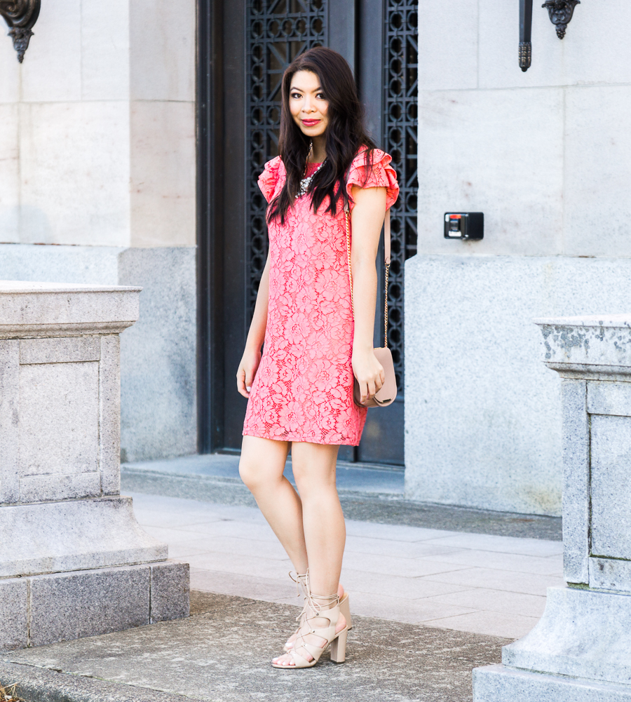 Ruffle shift dress, lace dress, day special occasion dress, summer fashion, what to wear to a graduation, Seattle fashion blogger