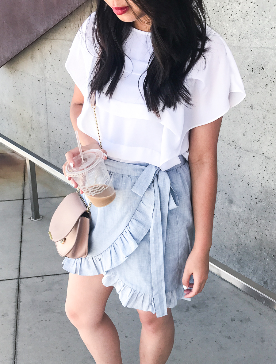 Ruffle wrap skirt, flutter top, summer style, casual cute outfit, Seattle fashion blogger