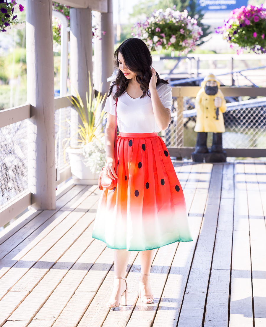 Watermelon skirt, watermelon print, cute summer outfit, Seattle fashion blogger, petite fashion blog