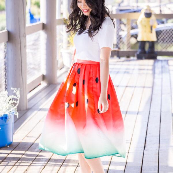 Watermelon skirt, watermelon print, cute summer outfit, Seattle fashion blogger, petite fashion blog