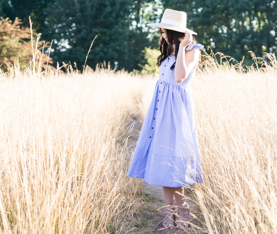 Blue gingham dress, summer style, straw hat, Discovery Park photography, Seattle fashion blogger